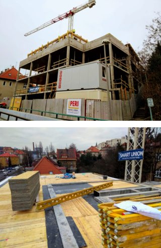 Výstavba budovy projektu V Holešovičkách